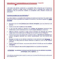 Elimination des déchets contaminés ou susceptibles d'être contaminés par le Coronavirus